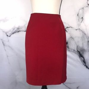 🦋BRIGGS🦋 vintage red wrap pencil skirt